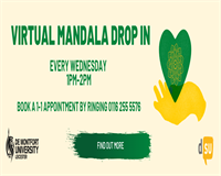 Virtual Mandala Drop In. Every Wednesday 1pm-2pm. Book an appointment by ringing 0116 255 5576. Find