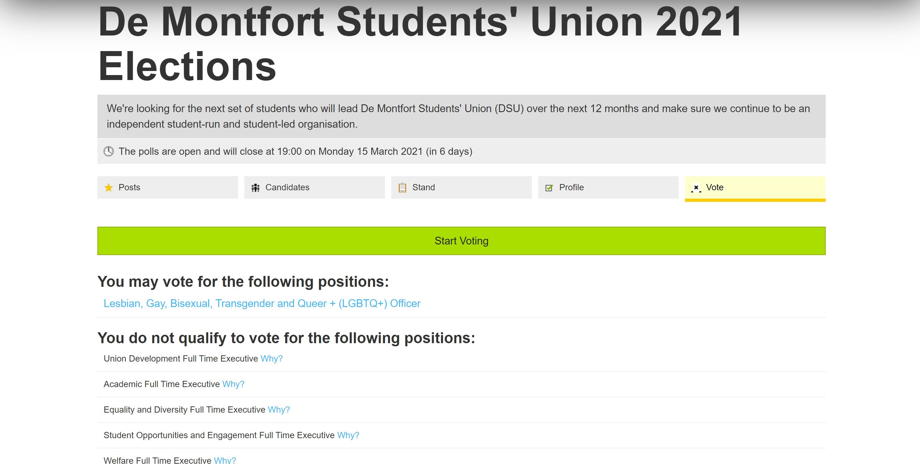 click the large green start voting button to begin the voting process